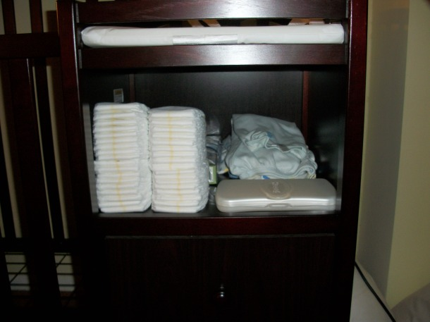 diapers under changing table