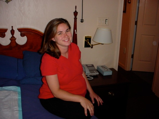 Taken at 41 weeks, I was in early labor (obviously between contractions that were not too painful) at the birth center, about 12 hours before my first son was born.